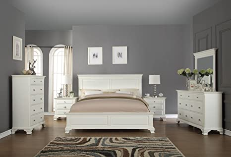 Roundhill Furniture B012QDMN2C Bedroom Furniture Bed Dresser Queen White
