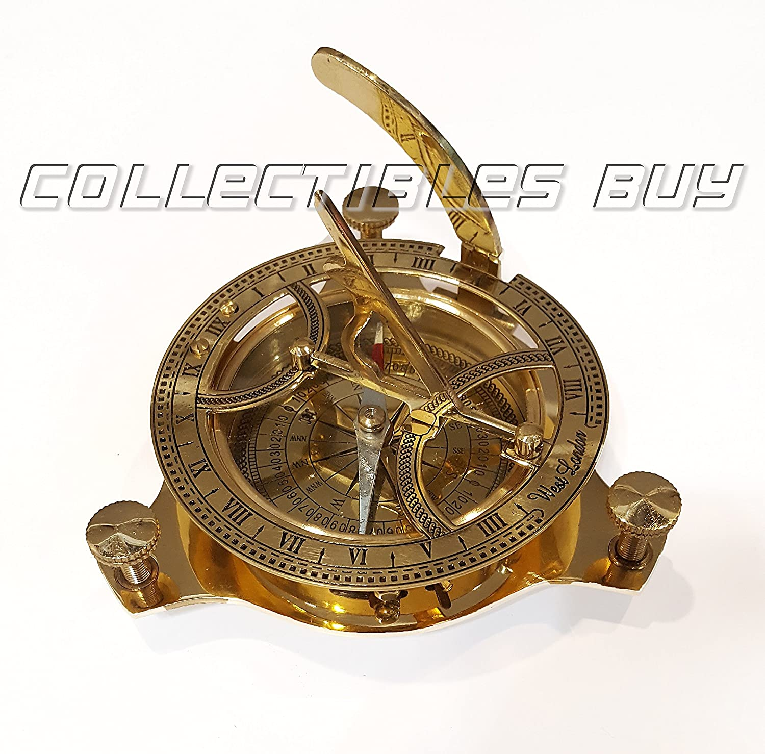 Marine Navigational Compass Shiny Brass Sundial Compass Three Leg Boat Model Collectibles Buy ZCO394