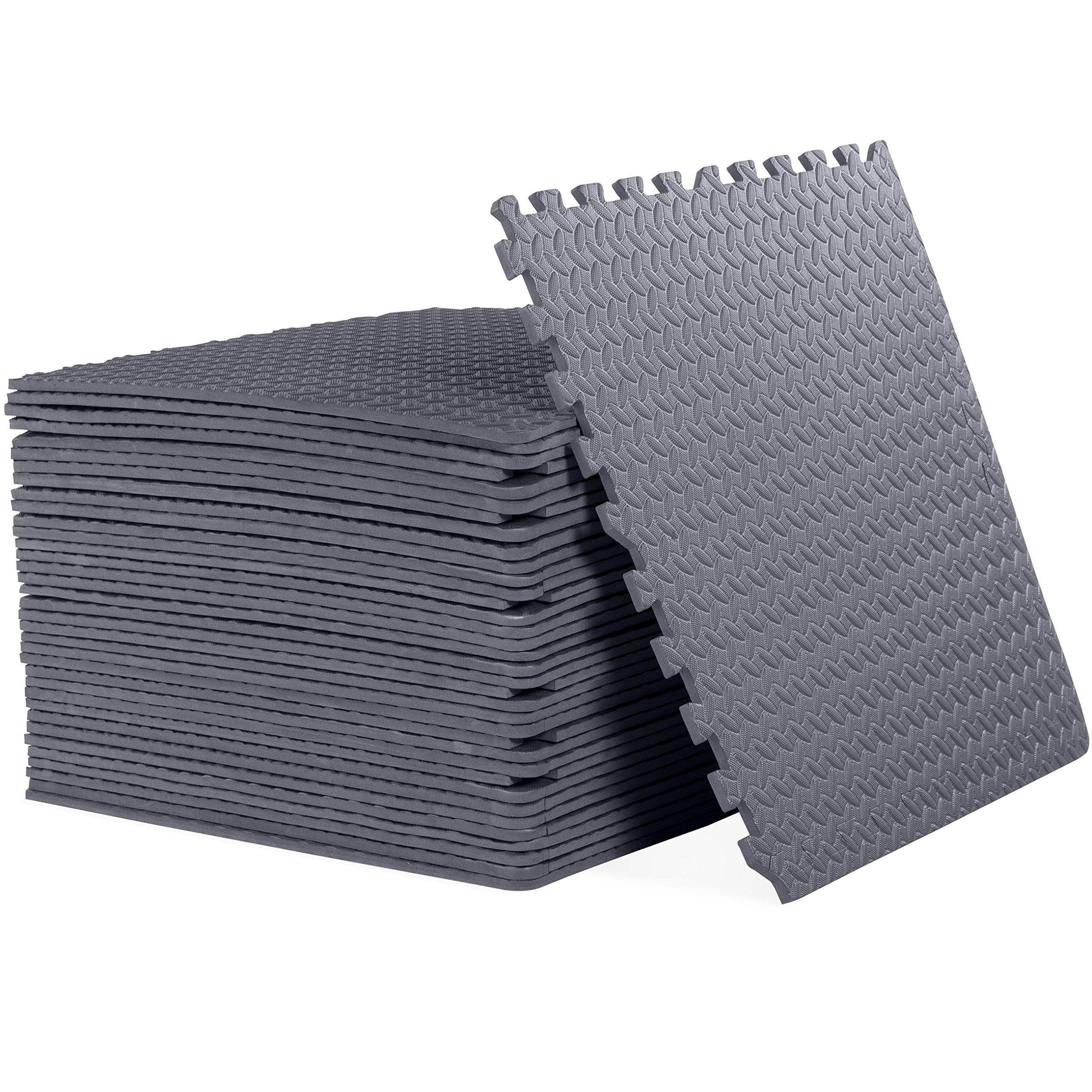 CAP Barbell 1/2'' Puzzle Exercise Mat with EVA Foam Interlocking Tiles, 144 Square Ft (36 Tiles + Borders)