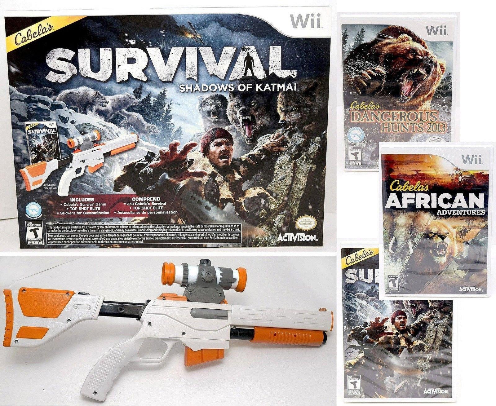 Wii Cabela's 3-GAME GUN BUNDLE Shadows Katmai African Adventures Hunts 2013