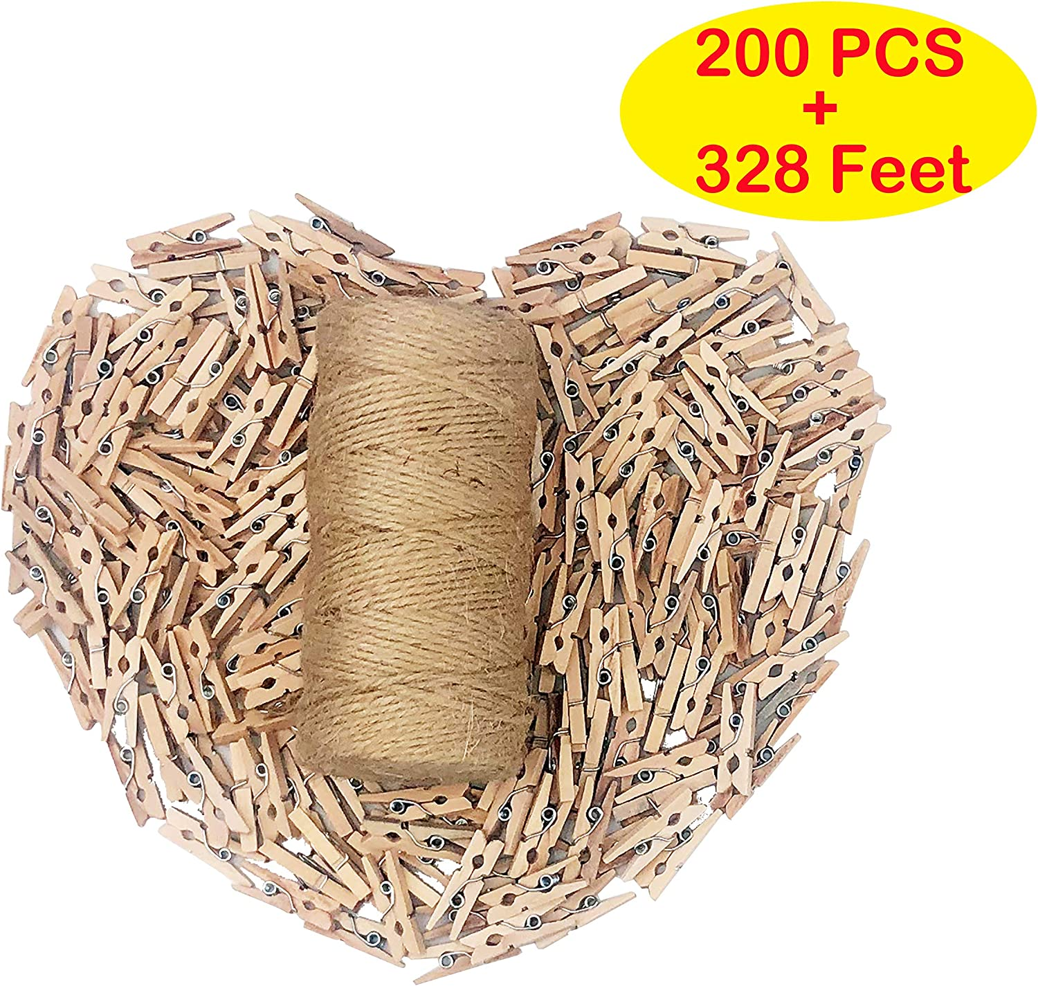 Aucheer 200PCS Mini Decorative Clothespins, 328 Feet Nature Jute Twine String with 200 Tiny Wooden Clothespins Clips Peg Pins for Photo Picture Paper Art Craft Wall décor Home Decoration