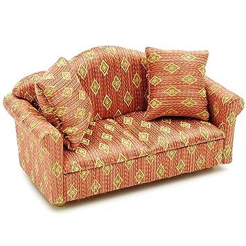 Unbekannt Miniatur Sofa Couch Mit 2 Kissen Fur Puppenstube