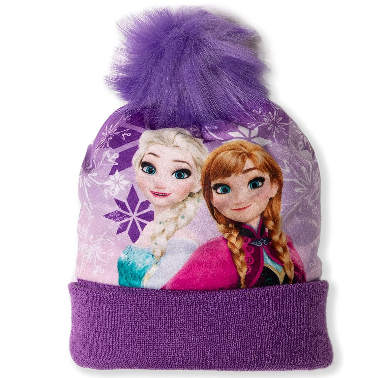 Disney Orginal Frozen Girls Warm Winter Bobble Style Hat with Pom Pom in Purple Anna Elsa Characters 2-8 Years