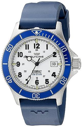 Glycine 3908-14B-D8 - Reloj de Pulsera Hombre, Caucho, Color Azul: Amazon.es: Relojes
