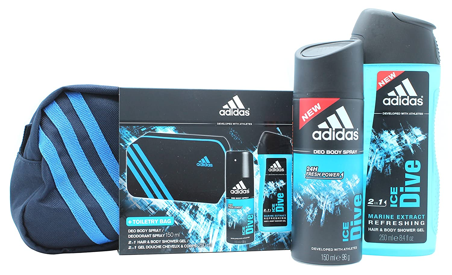 706bdd9a2d11 Adidas Ice Dive Gift Set 150ml Deodorant Body Spray + 250ml Shower Gel + Toiletry  Bag  Amazon.co.uk  Health   Personal Care