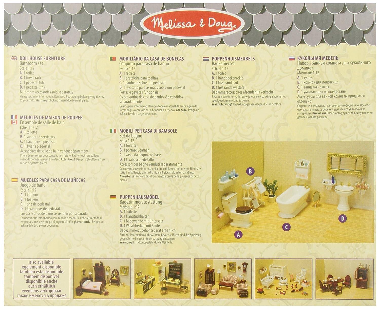 Melissa /& Doug Classic Wooden Dollhouse Bathroom Furniture 4 pcs Toilet Towel Rack - Tub Sink
