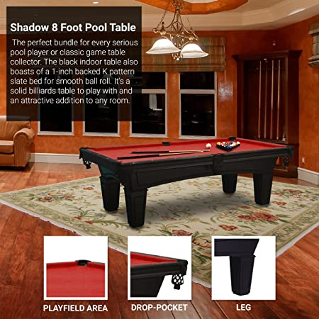 Amazon.com : Imperial Shadow Black 8 Foot Pool Table   Red Cloth With  Exclusive Accessory Bundle: Billiard Ball Set, 4 Cues, Triangles, Cover :  Sports U0026 ...
