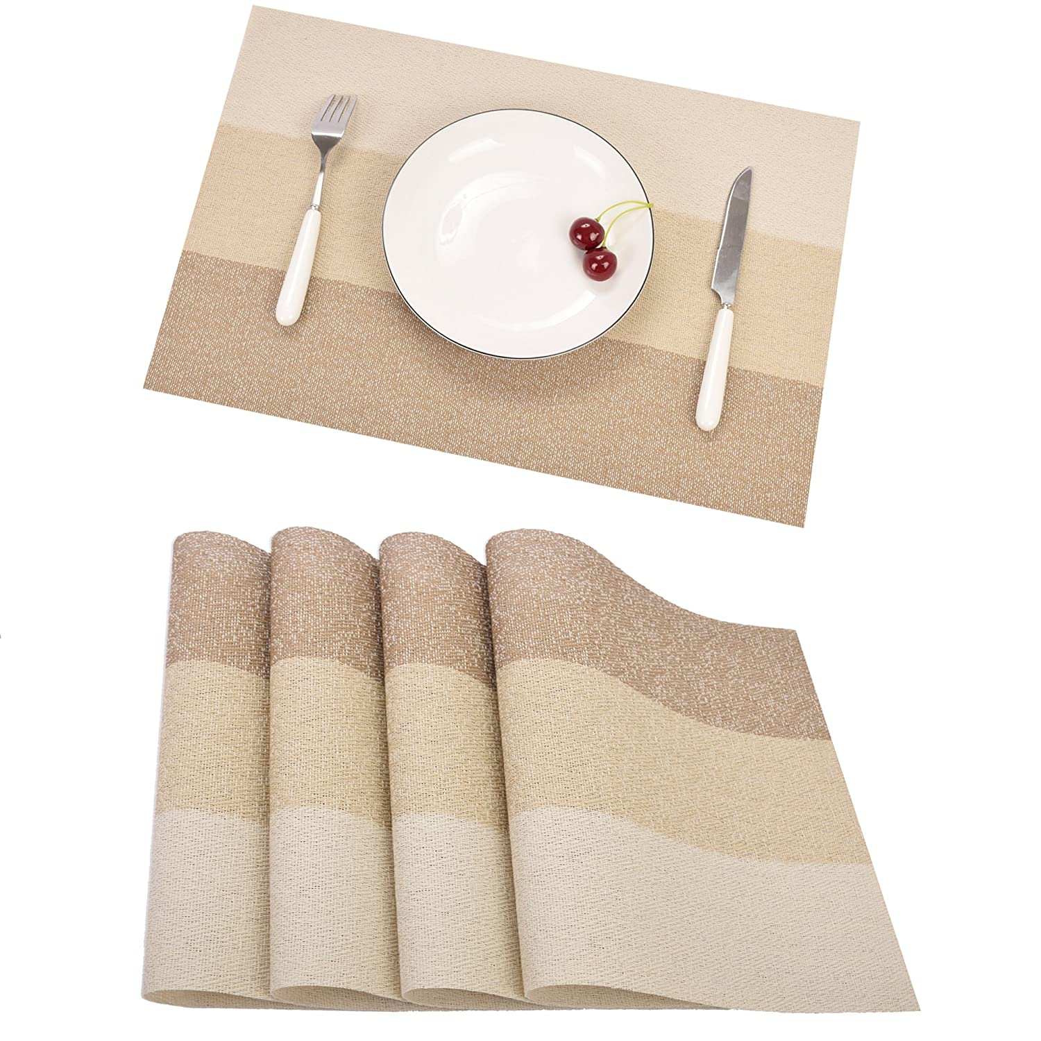 Placemats Famibay Place Mats Set of 6 for Table Washable Fabric Table Mats for Kitchen Non Slip (6, Blue)