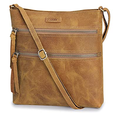 db87dc4c0f7 S-ZONE Vintage Genuine Crazy Horse Leather Small Crossbody Purse Slim Shoulder  Bag for Women