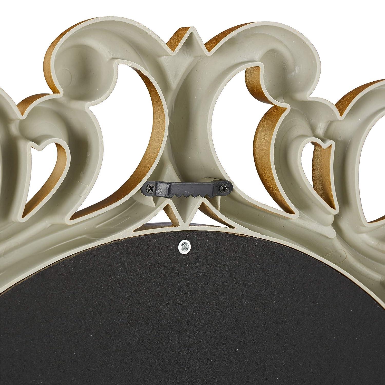 Living Room /& Bedroom cardboard Bathroom glass Ornament Gold 50 x 50 x 3 cm Frame PP Relaxdays Round Wall Mirror Decoration for Hallway /∅ 50 cm