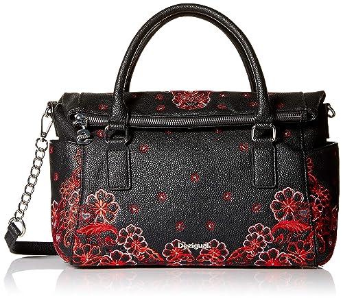 Desigual - Bols_manuela Foulard Loverty, Shoppers y bolsos de hombro Mujer, Negro, 14x24x33 cm (B x HT)