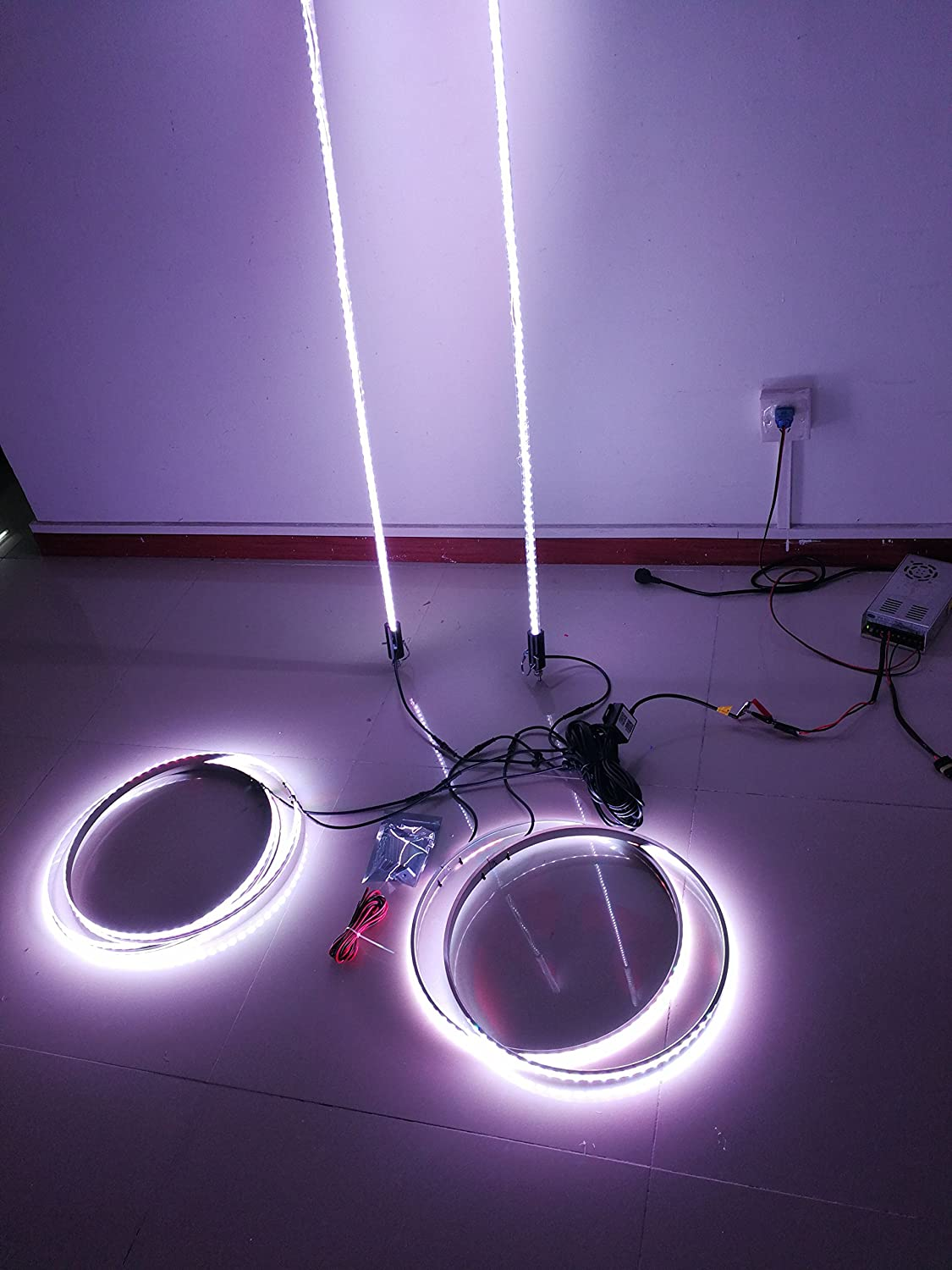4 of 15.5 Synced Bluetooth Multiple Colors LED Whip Lights 2 of 6ft +LED Illuminated Wheel Ring Rim Lights