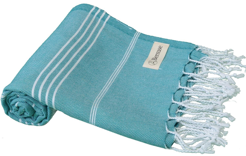Bersuse 100% Cotton - Anatolia Turkish Towel - Bath Beach Fouta Peshtemal - Classic Striped Pestemal - 37X70 Inches, Black Bersuse Towels ANATOLIA_PEST_B