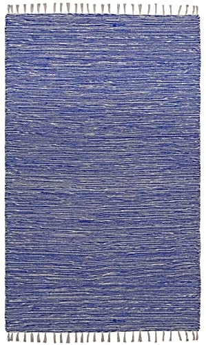 Complex Chenille Flat Weave Rug, 3-Feet by 5-Feet, Blue