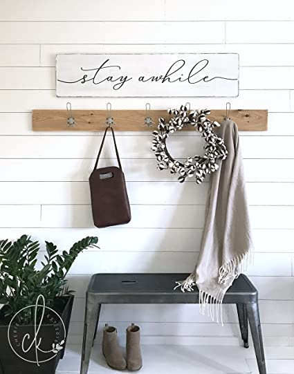 Amazon Com Stay Awhile Wood Sign Stay Awhile Sign Entryway Wall