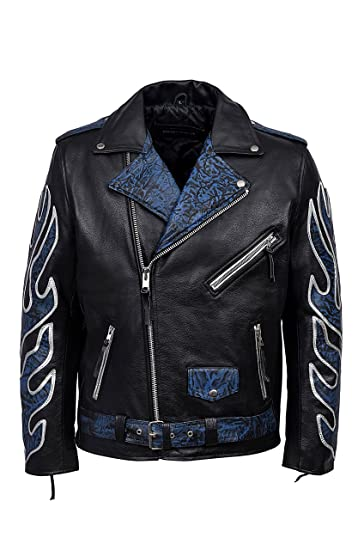 0e634880a4ea Classic BRANDO Black Blue Flame Men's Motorcycle Biker Hide Real Leather  Jacket ...