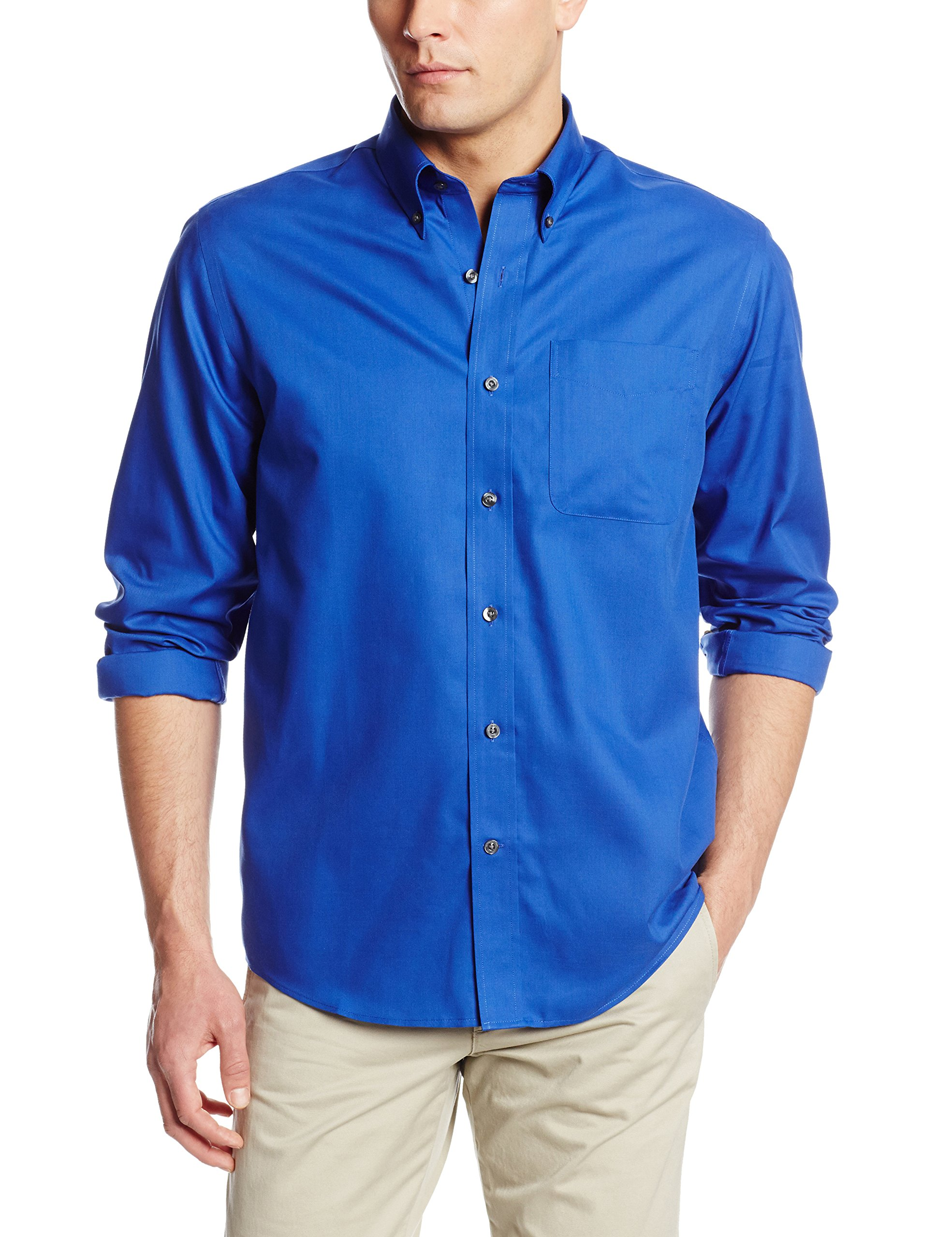 Cutter & Buck Men's Epic Easy Care Fine Twill Shirt, French Blue, Small