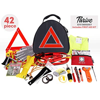 Thrive Roadside Assistance Auto Emergency Kit + First Aid Kit – Triangle Bag - Contains Jumper Cables, Tools, Reflective Safety Triangle and More. Ideal Winter Accessory for Your car, Truck, Camper: Automotive
