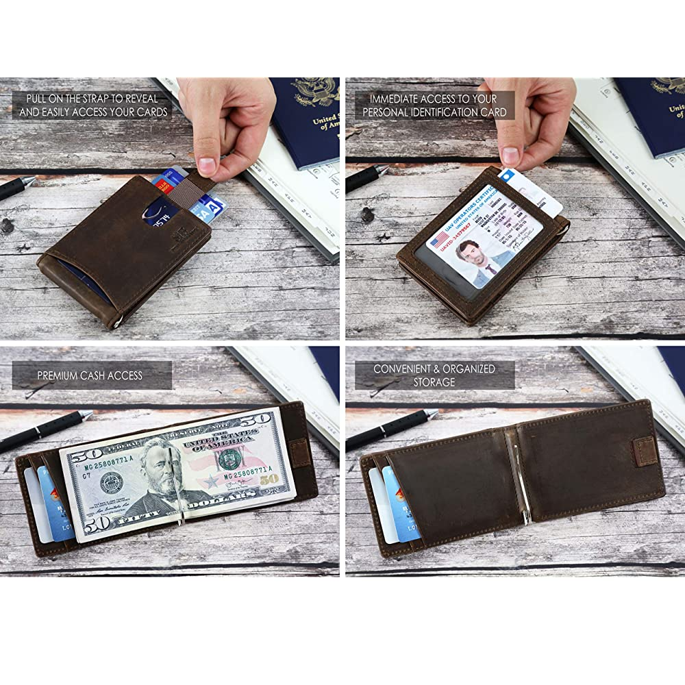 13aea1733b0 PrevNext. PrevNext. SERMAN BRANDS RFID Blocking Slim Bifold Genuine Leather  Minimalist Front Pocket Wallets for Men with Money