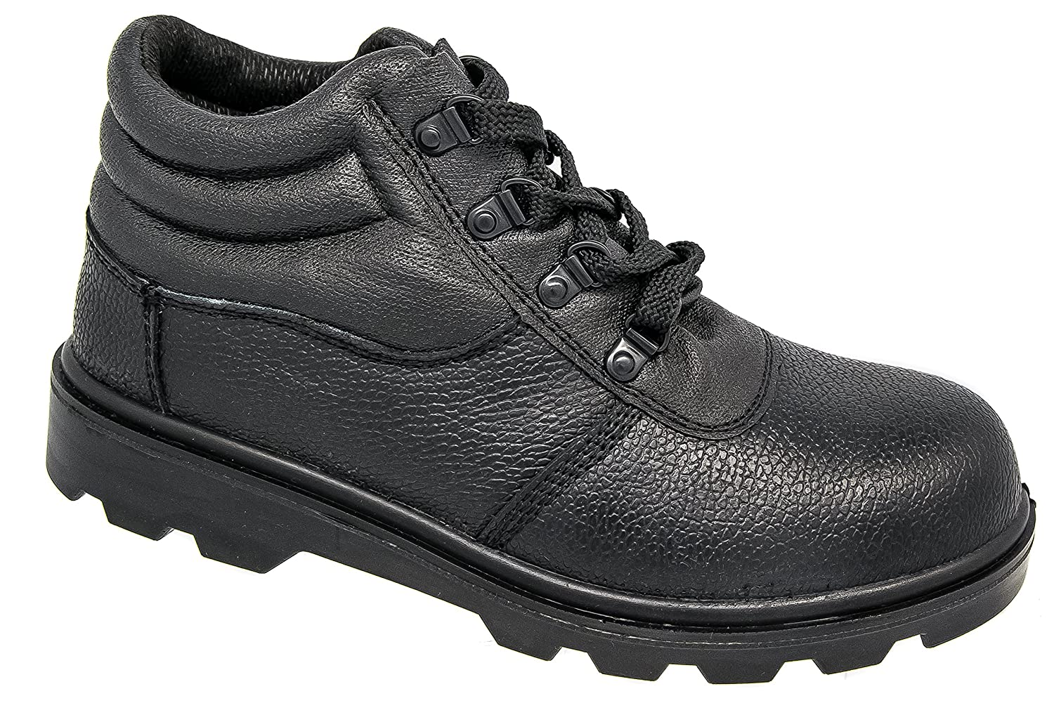Mens Grafters Black Leather Padded Lightweight Safety Toe Cap Work Boots:  Amazon.co.uk: Shoes & Bags