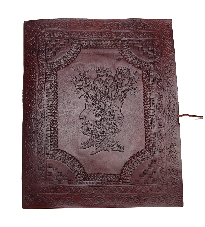 Photo Album XXL Vintage Buffalo leather Black cotton paper Embossed Elephant Horse Camel Handmade The Wisdom of Trees