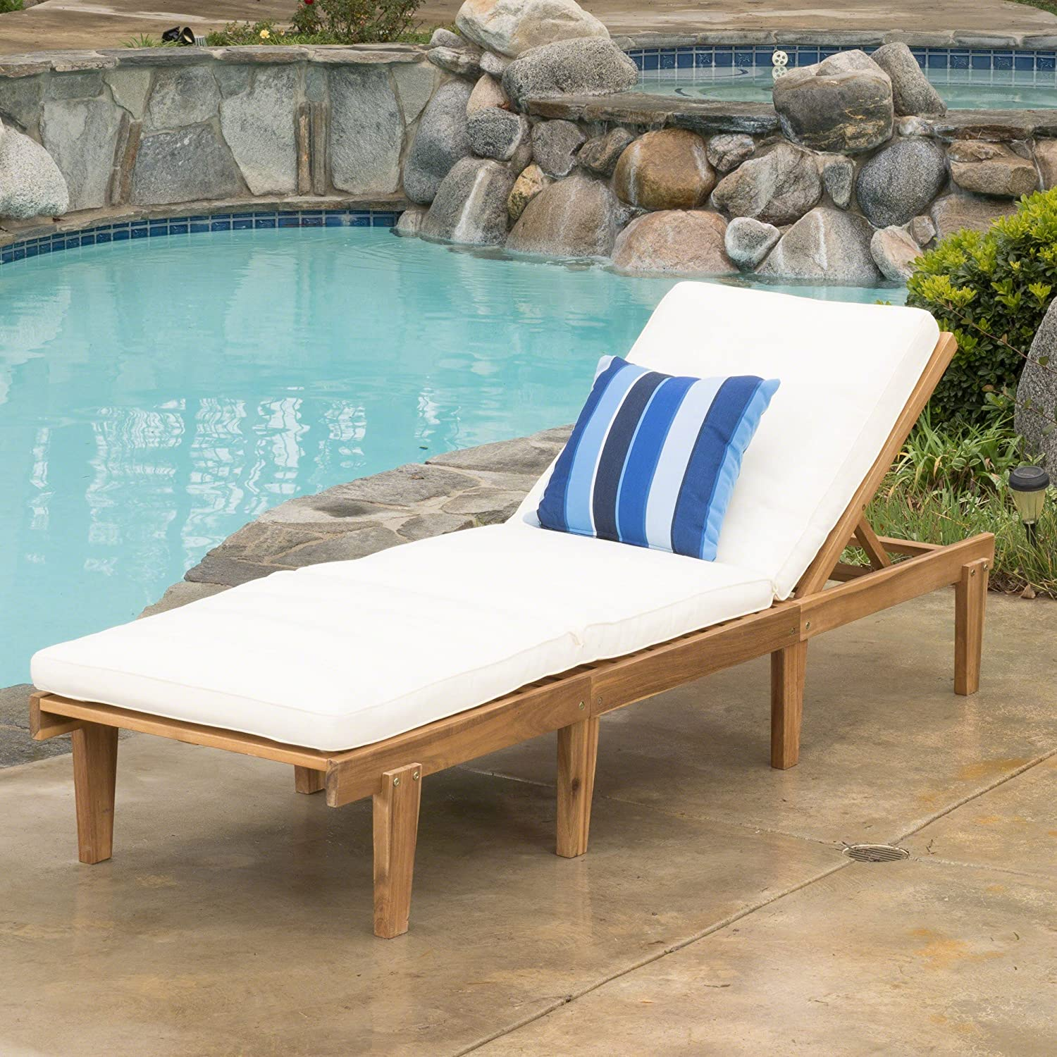 Christopher Knight Home Ariana Acacia Wood Chaise Lounge with Cushion, Teak Finish