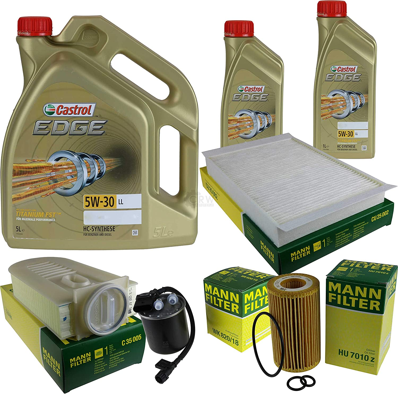 Filter Set Inspektionspaket 7 Liter Motoröl Castrol Edge Titanium Fst 5w 30 Ll Mann Filter Innenraumfilter Kraftstofffilter Luftfilter Ölfilter Auto