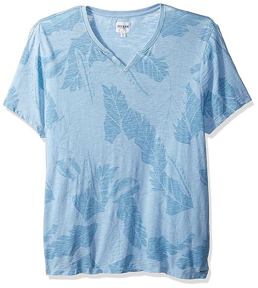c47616864 Guess Men's Short Sleeve Myer Slit Neck T-Shirt: Amazon.co.uk: Clothing