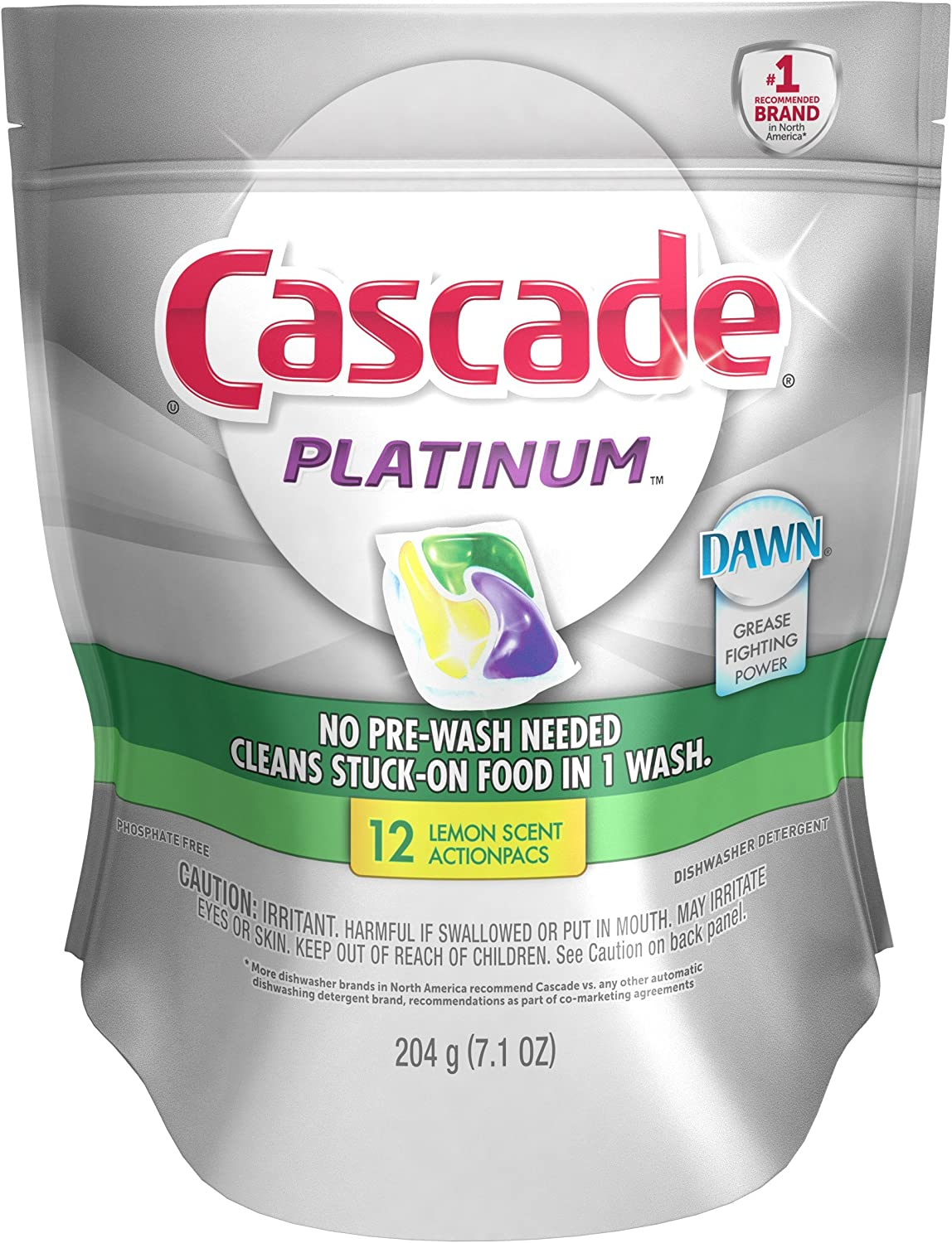 Cascade Platinum Actionpacs Lemon Burst Scent Dishwasher Detergent, 12 Count, 7.1 oz