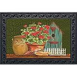 """Potted Geraniums Summer Doormat Indoor Outdoor Floral Birdhouse 18"""" x 30"""""""