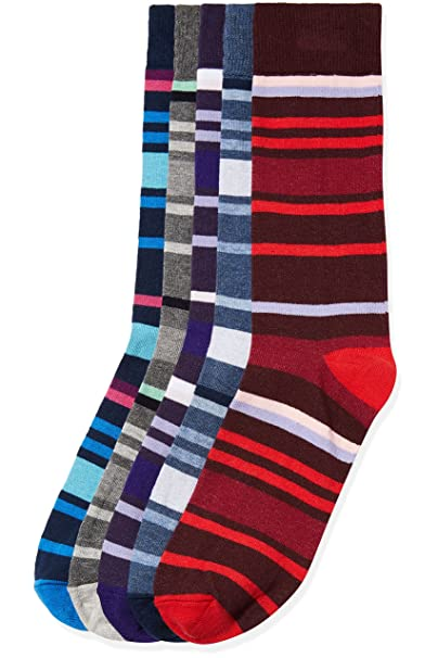 FIND Calcetines de Rayas para Hombre, Pack de 5, Multicolor (Multi Coloured), Large: Amazon.es: Ropa y accesorios
