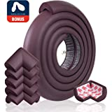 Edge Protector for Baby Corner Guard Edge & Corner Guards [6.5ft Edge + 6 Corner] -10s to Install- Premium High Density Baby Proof Table Protector-Corner Cushion and Edge Safety Bumpers - Brown