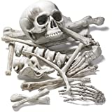 Prextex 18 PC Bag of Skeleton Bones and Skull for Best Halloween Decoration and Spookiest Graveyard Scene