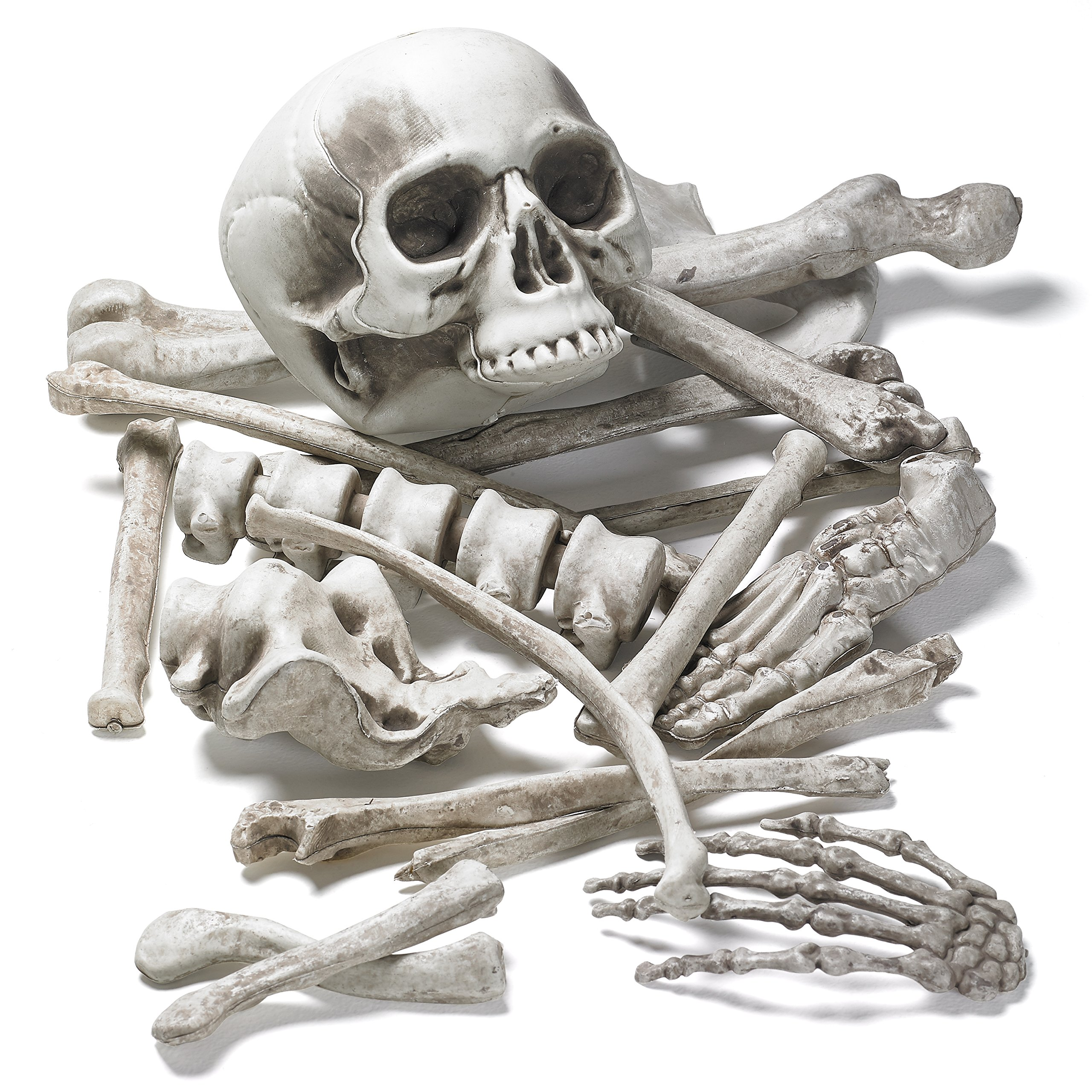 Prextex Bag of Skeleton Bones and Skull for Best Halloween Decoration and Spookiest Graveyard Scene