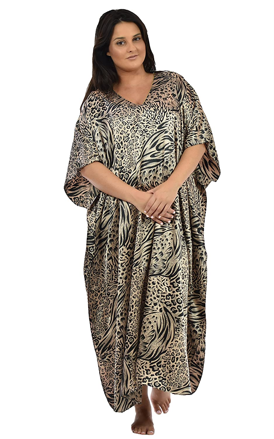 a4beb08a6 Up2date Fashion Satin Caftan/Kaftan in Sandy Animal Print, Style Caf-31C4  at Amazon Women's Clothing store:
