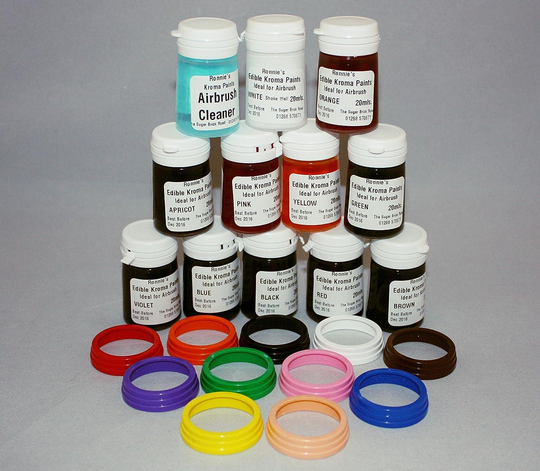Commestibile aerografo pitture, set di 11colori e 1cleaner–Kroma pitture Kopykake