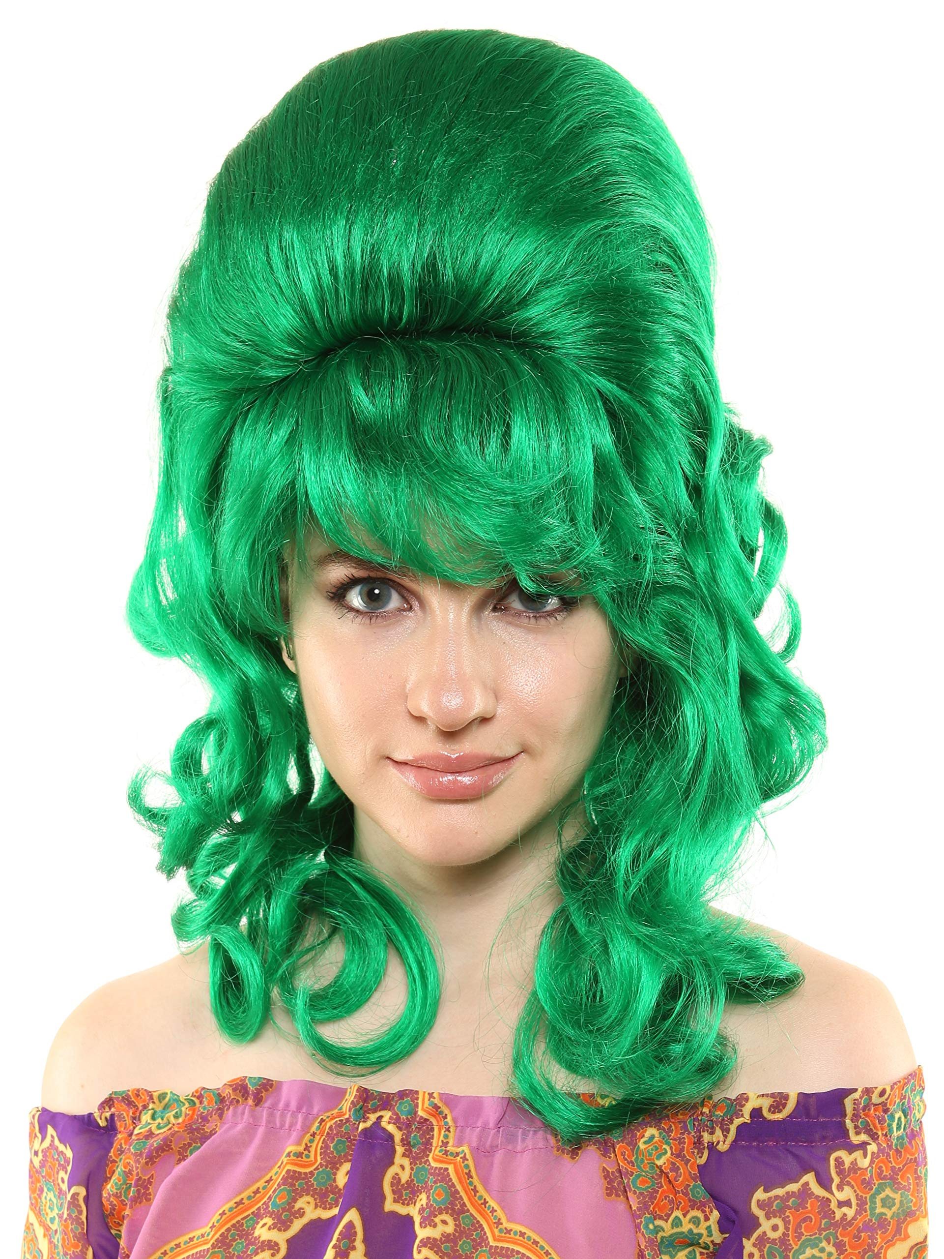 Premium Quality 1960's Beehive Wig with Natural Curls (Emerald) by LuxeWigs