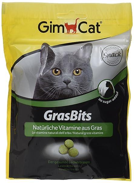GimCat GrasBits , Golosinas para gatos con vitaminas, minerales, aminoácidos y oligoelementos , 1