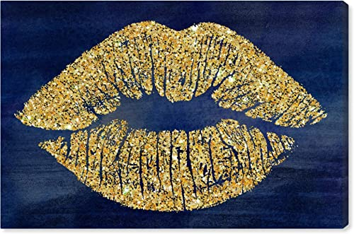 The Oliver Gal Artist Co. Fashion and Glam Wall Art Canvas Prints 'Solid Kiss Navy Glitter' Home D cor