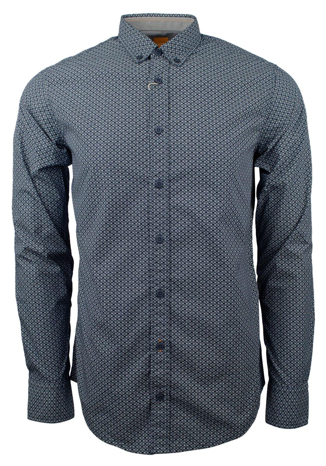 Hugo Boss Men's Orange Label EdipoE Slim Fit Geometric Cotton Shirt-NB-M