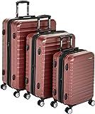 "AmazonBasics Premium Hardside Spinner Luggage with Built-In TSA Lock - 3-Piece Set (21"", 26"", 30""), Red"