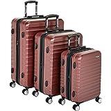 "Amazon Basics Premium Hardside Spinner Luggage with Built-In TSA Lock - 3-Piece Set (21"", 26"", 30""), Red"