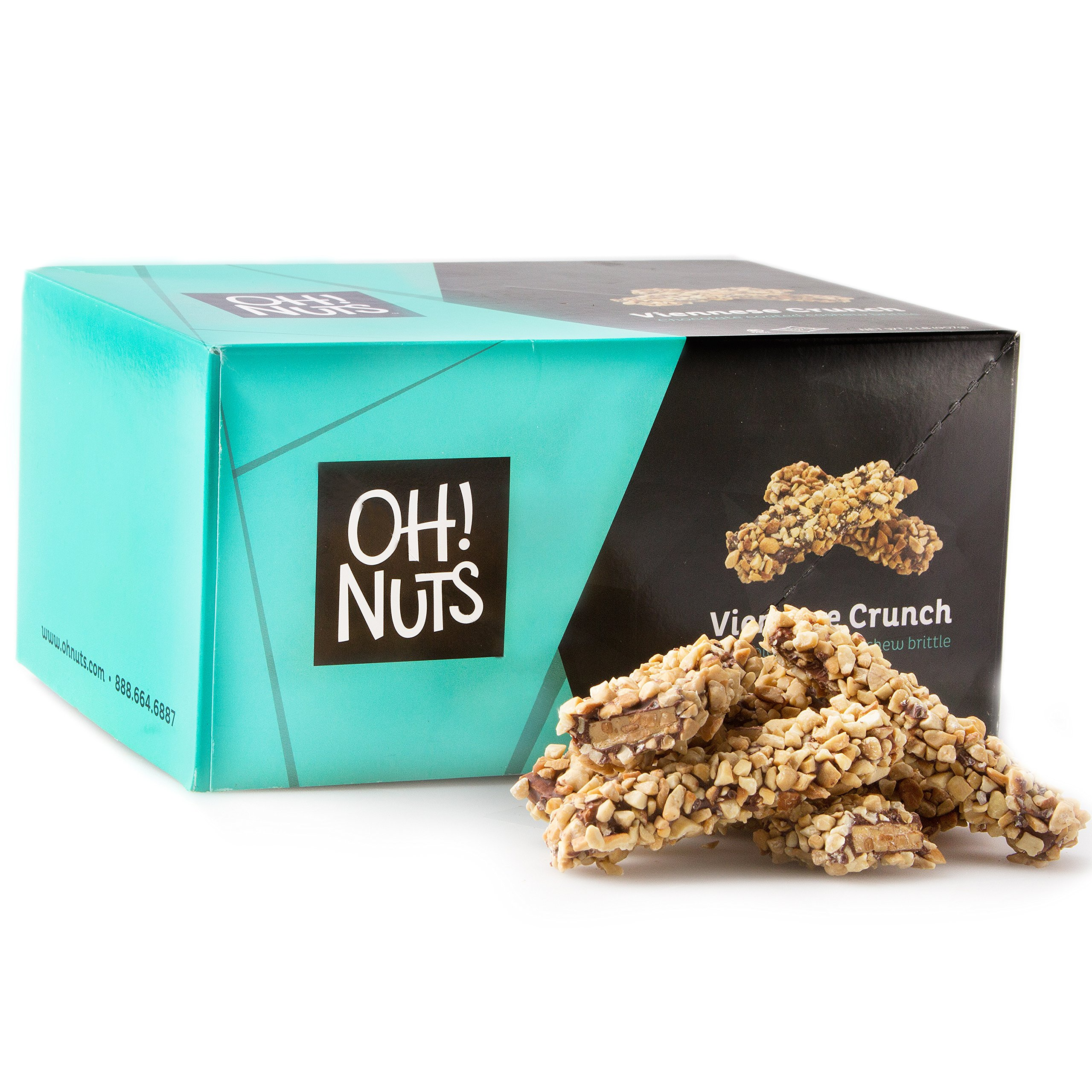 Toffee Candy Brittle Butter Cashew Nuts, Gourmet Dark Chocolate Viennese Crunch Log, Party Gift Basket (2lb Pound) - Oh! Nuts by Oh! Nuts