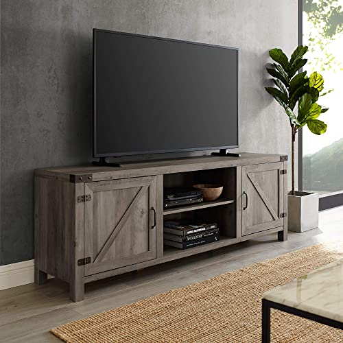 Home Accent Furnishings Tucker 70 Inch Barn Door TV Console in Grey Wash