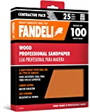 "Fandeli 36010 100 Grit Wood Sandpaper Sheets, 9"" x 11"", 25-Sheet"