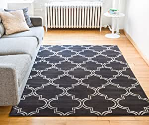 """Well Woven Minaret Trellis Charcoal Grey & Beige Vintage Moroccan Lattice Modern Geometric Area Rug 8 x 10 (7'10"""" x 9'10"""") Neutral Shabby Chic Thick Soft Plush Shed Free"""