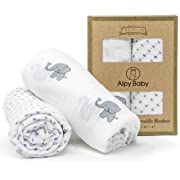 "Alpy Baby Organic Cotton Muslin Swaddle Blankets - ""Elephants and Dots"" - 47 inches x 47 inches - Strong & Soft in Grey, Mint, White - Set of 2"