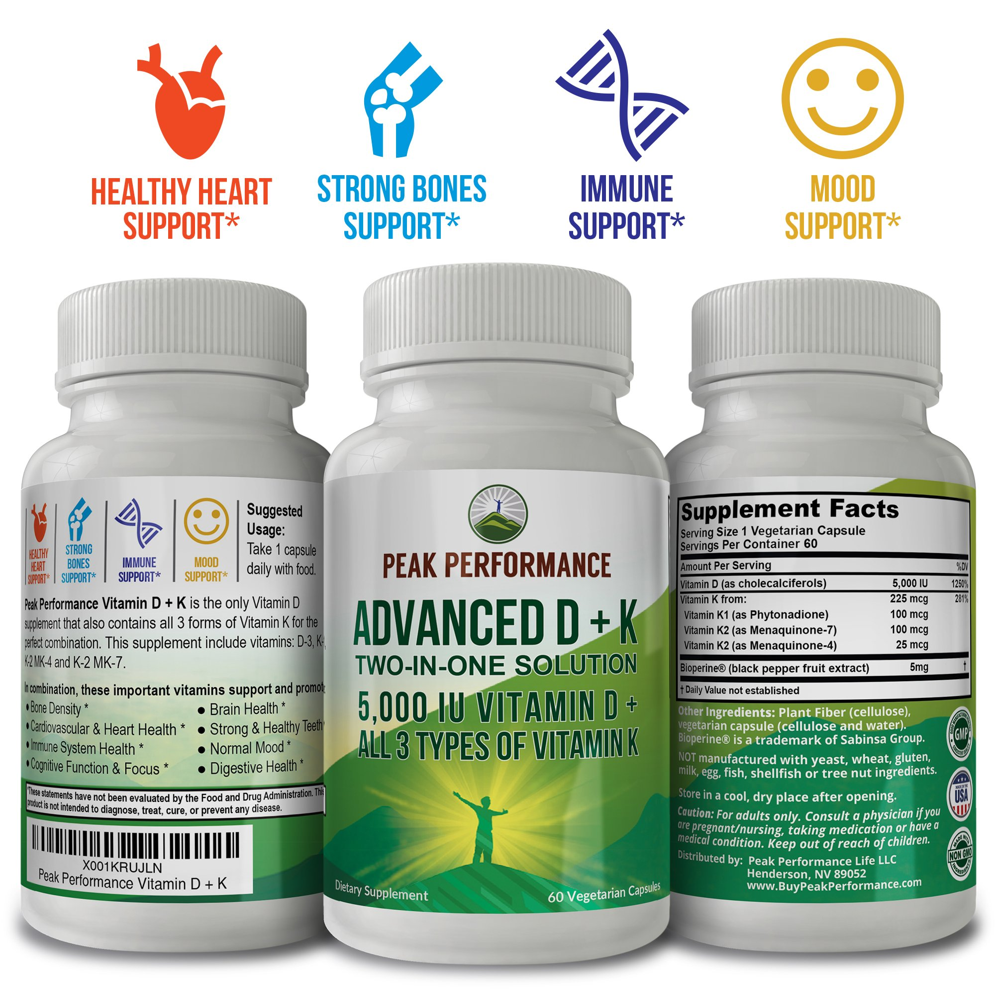 ADVANCED Vitamin D 5000 IU + ALL 3 Types Of Vitamin K By Peak Performance. Vitamin D3 and Vitamin K2 MK-7 (MK7) K2 MK4 K1 Supplement! 60 Small & Easy to Swallow Vegetable Capsules / Pills (5000 IU) by Peak Performance Coffee (Image #2)
