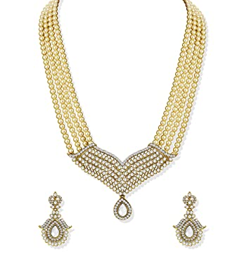 d471b0e3608 Zaveri Pearls Royal Princess Pearl Jewellery Necklace Set for Women -  ZPFK5215