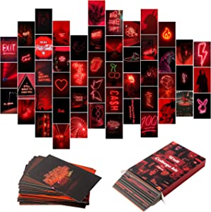YINGENIVA 50PCS Red Neon Aesthetic Pictures Wall Collage Kit, Neon Red Photos Collections Collage Dorm Decors for Girl Teens and Women, Trendy Wall Prints Kit, Small Posters for Room Bedroom Aesthetic
